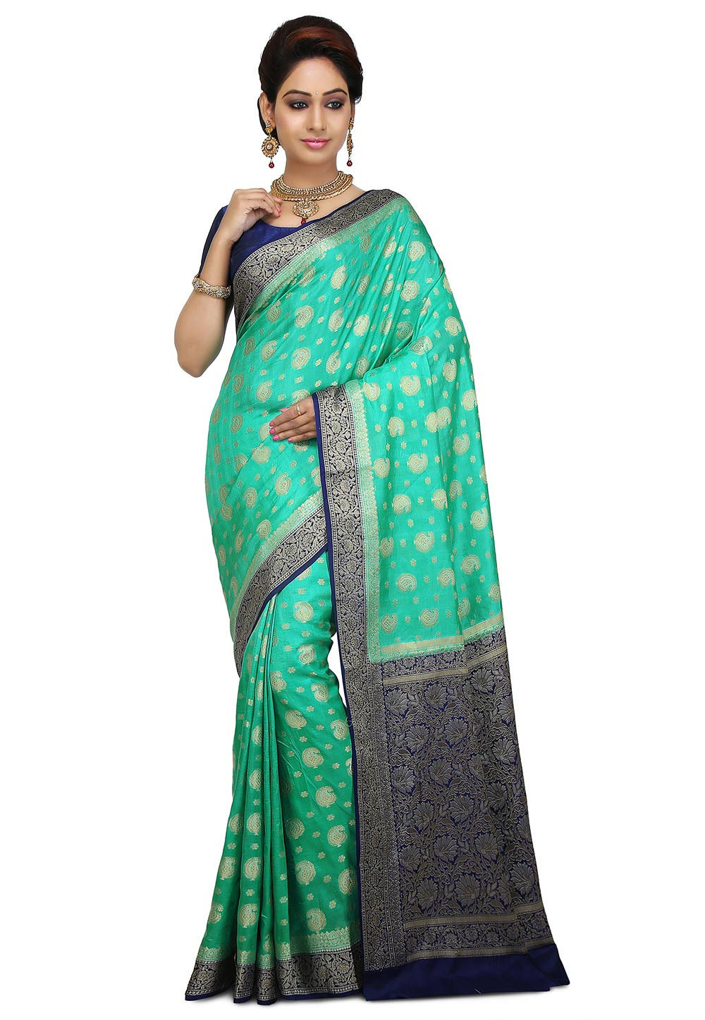 Pure Banarasi Silk Saree in Light Teal Green
