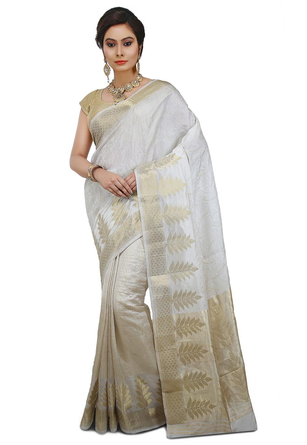 Pure Banarasi Silk Saree in Off White