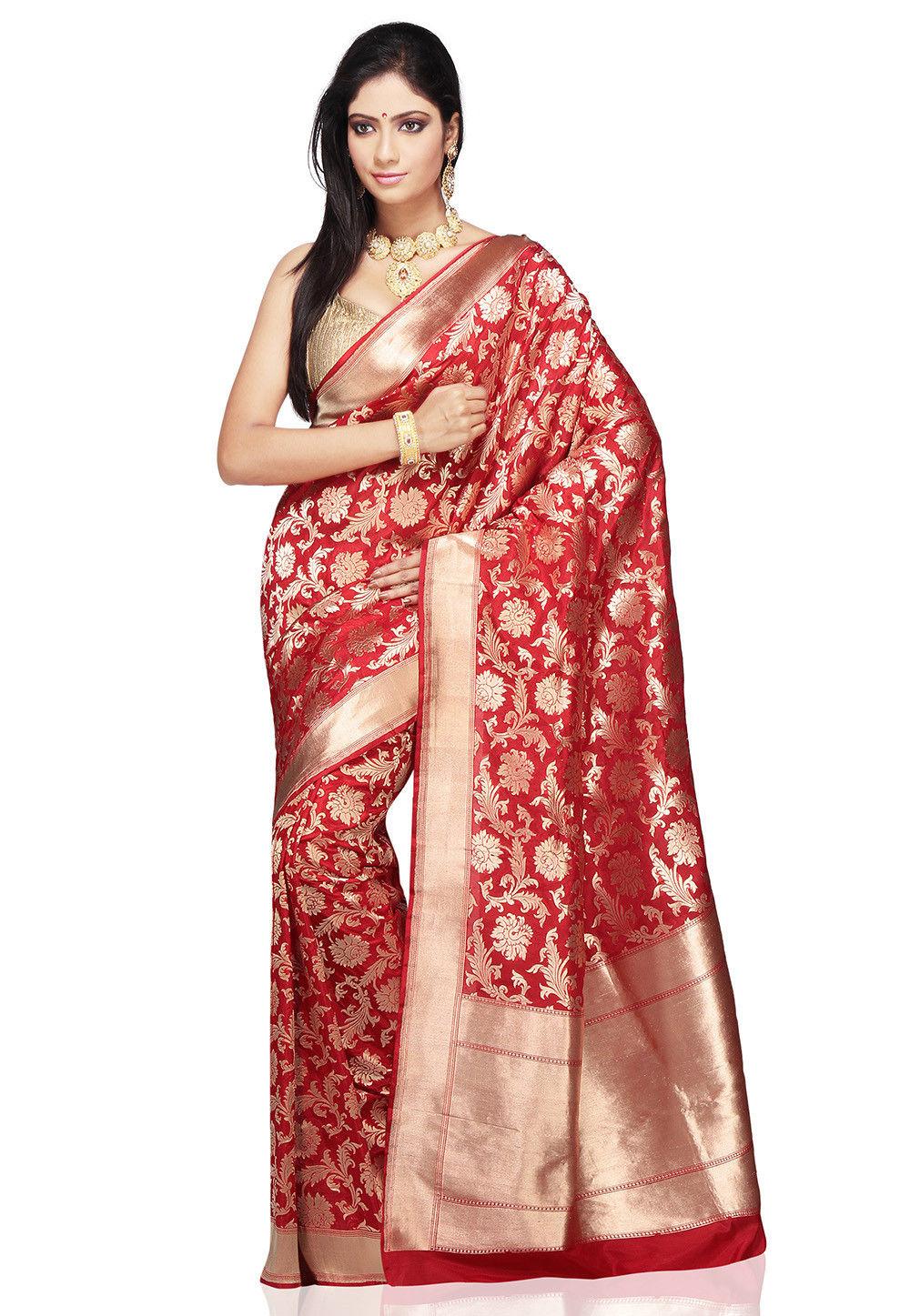 Utsav fashion shopping bag - Handloom Pure Banarasi Silk Saree In Red