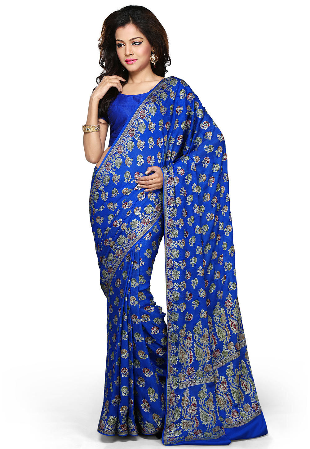 Woven Pure Georgette Silk Saree in Blue