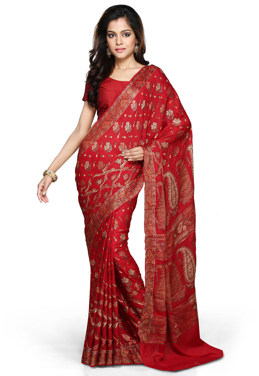 Woven Pure Georgette Silk Saree in Red