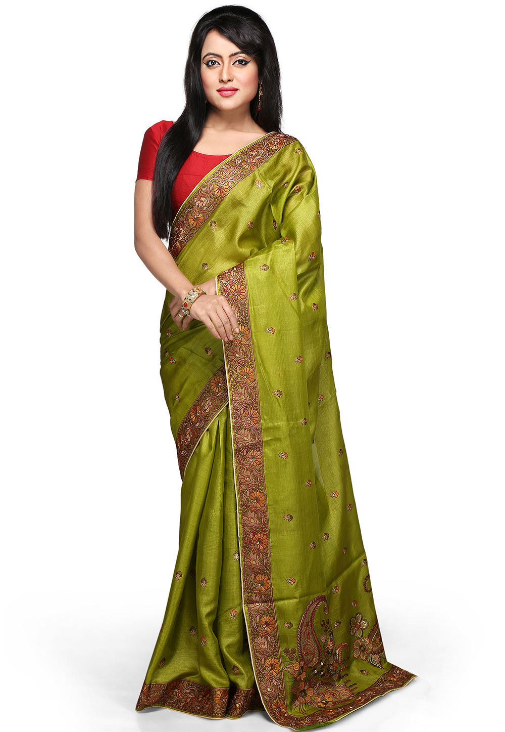 Embroidered Pure Tussar Silk Saree in Olive Green