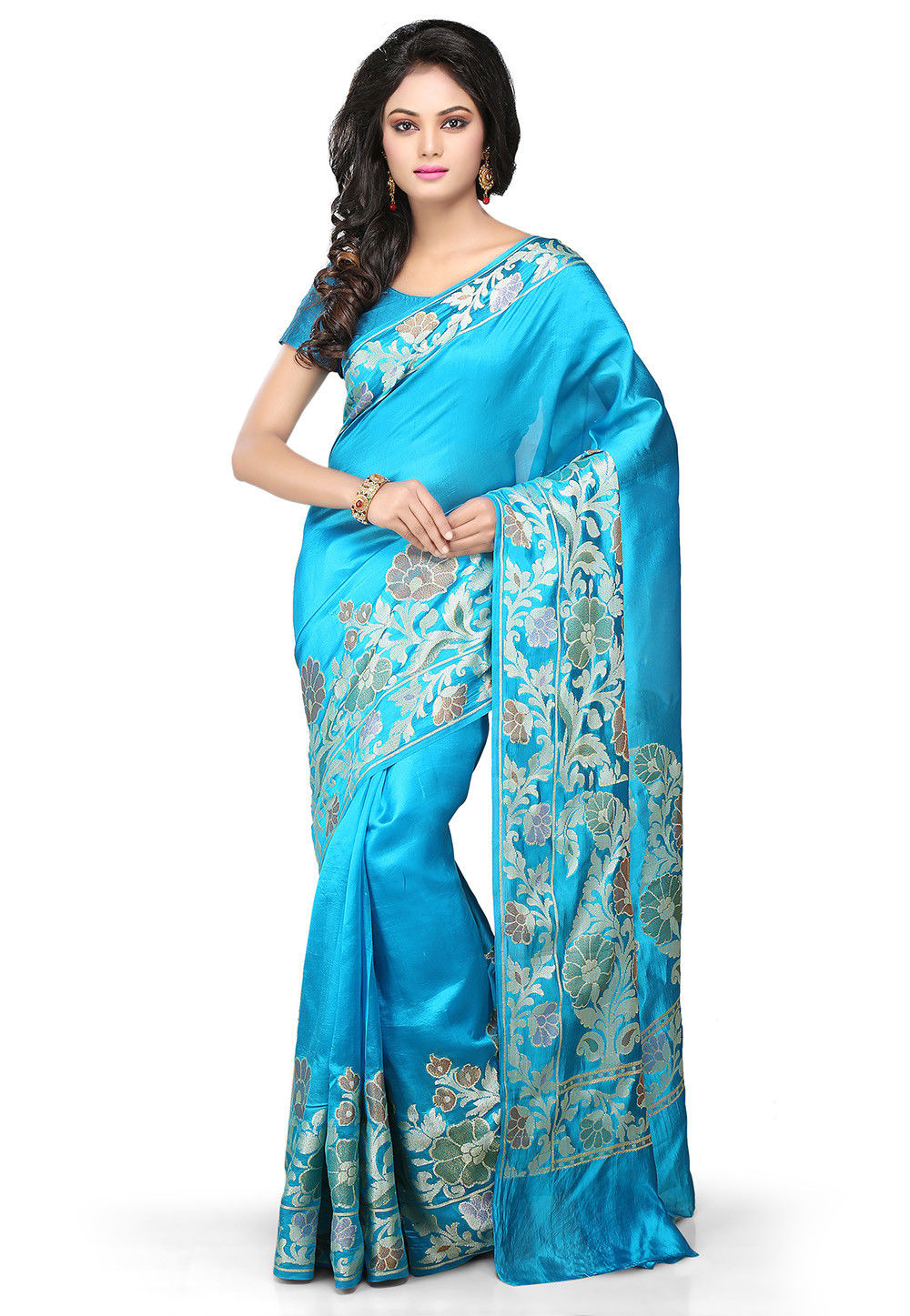 Woven Pure Tussar Silk Banarasi Saree in Blue