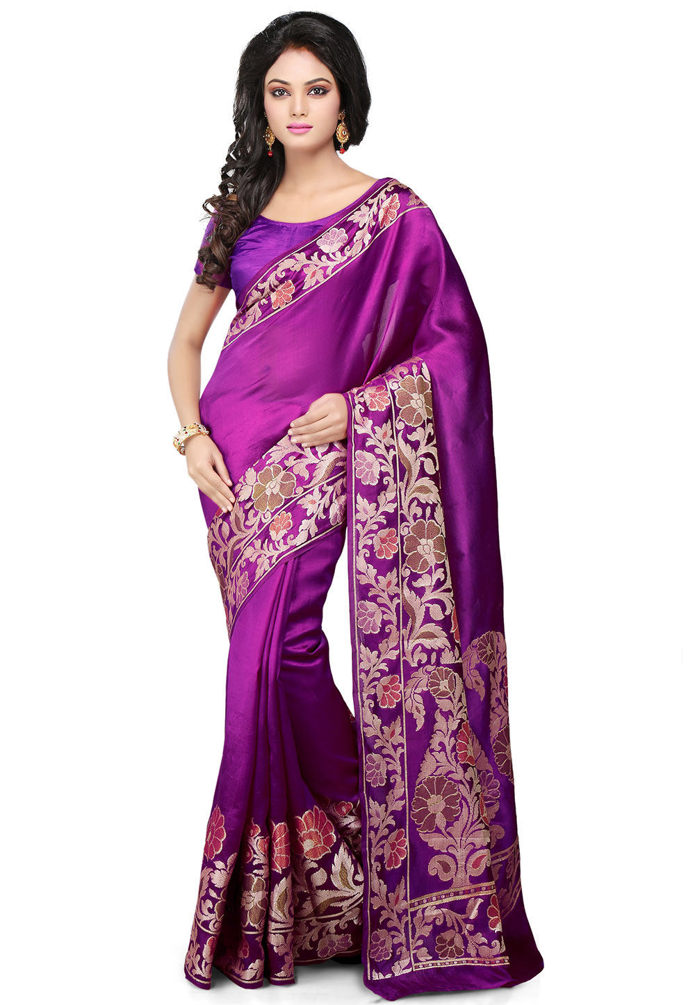 Pure Tussar Silk Banarasi Saree in Violet