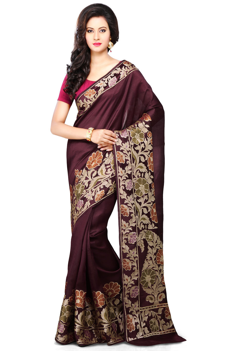Pure Tussar Silk Saree in Wine