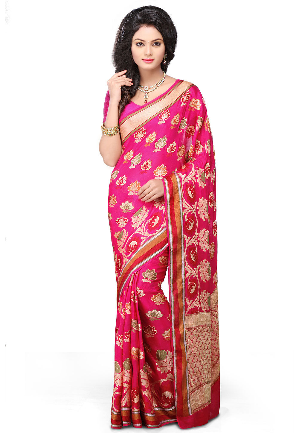 Pure Georgette Silk Saree in Fuchsia