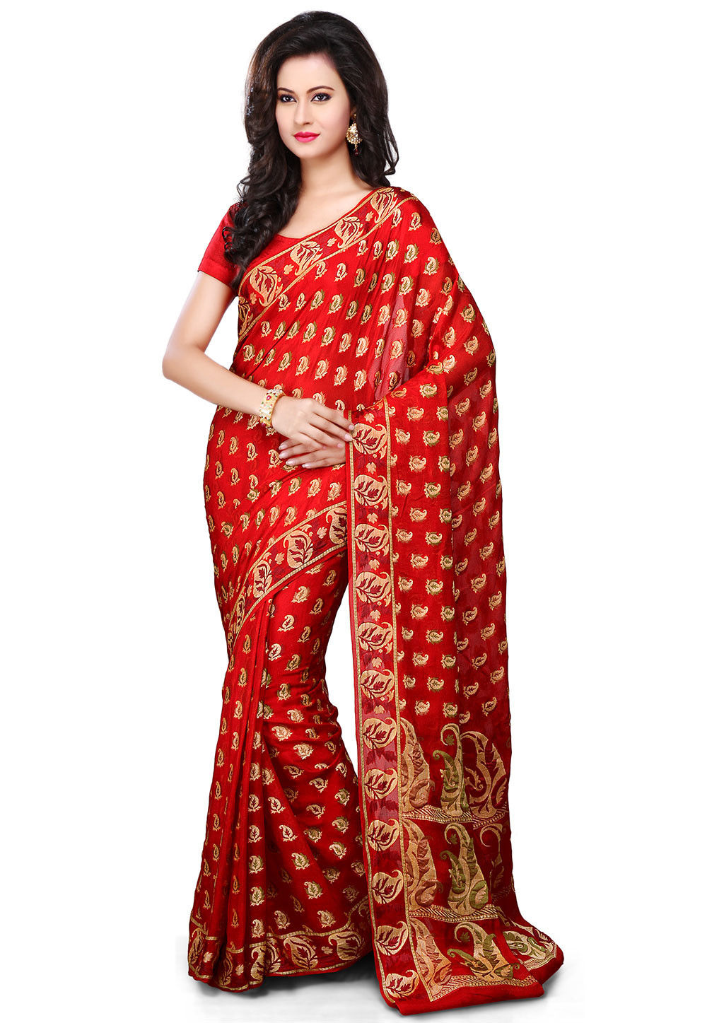 Pure Georgette Silk Saree in Red