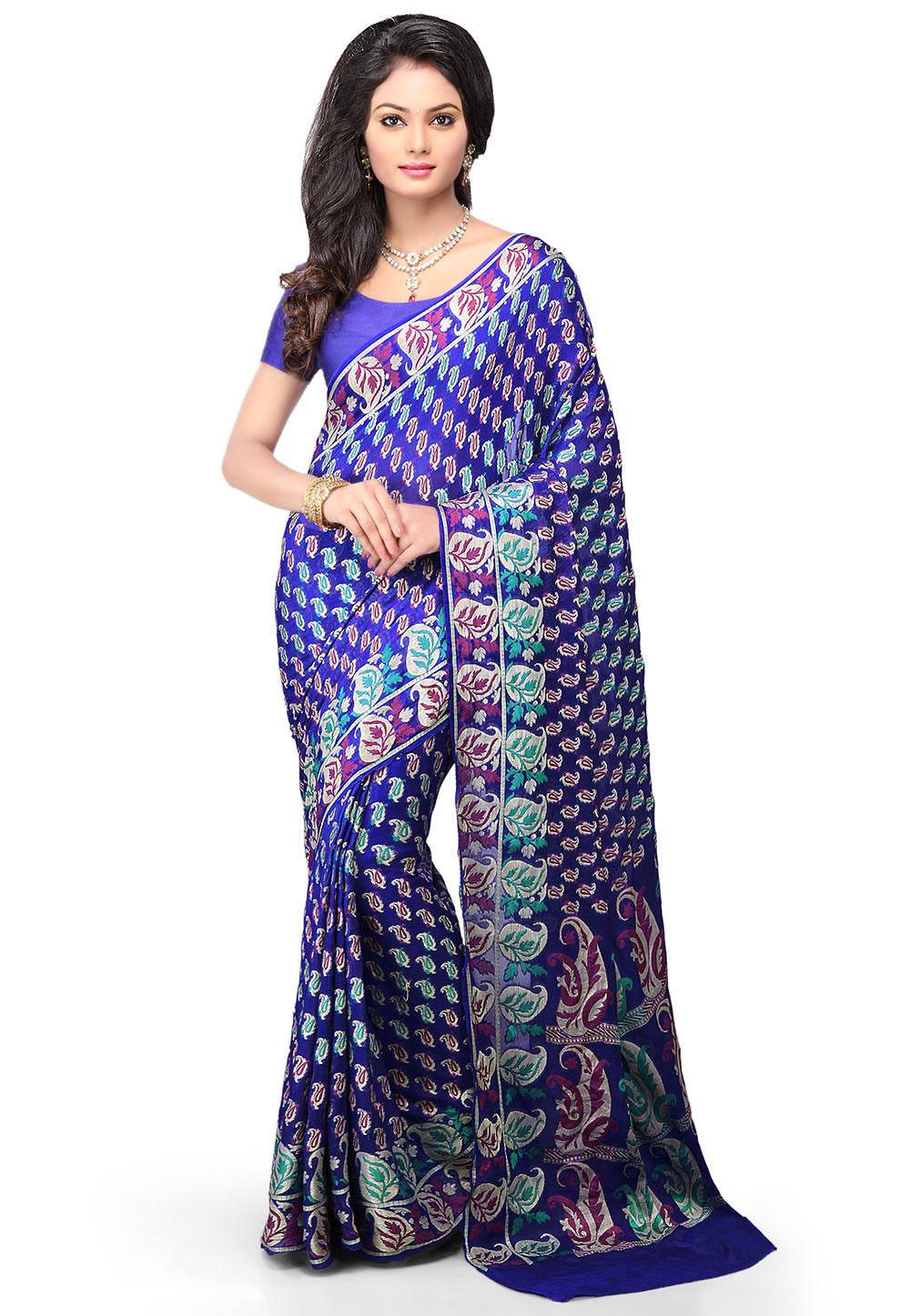 Pure Georgette Silk Saree in Royal Blue