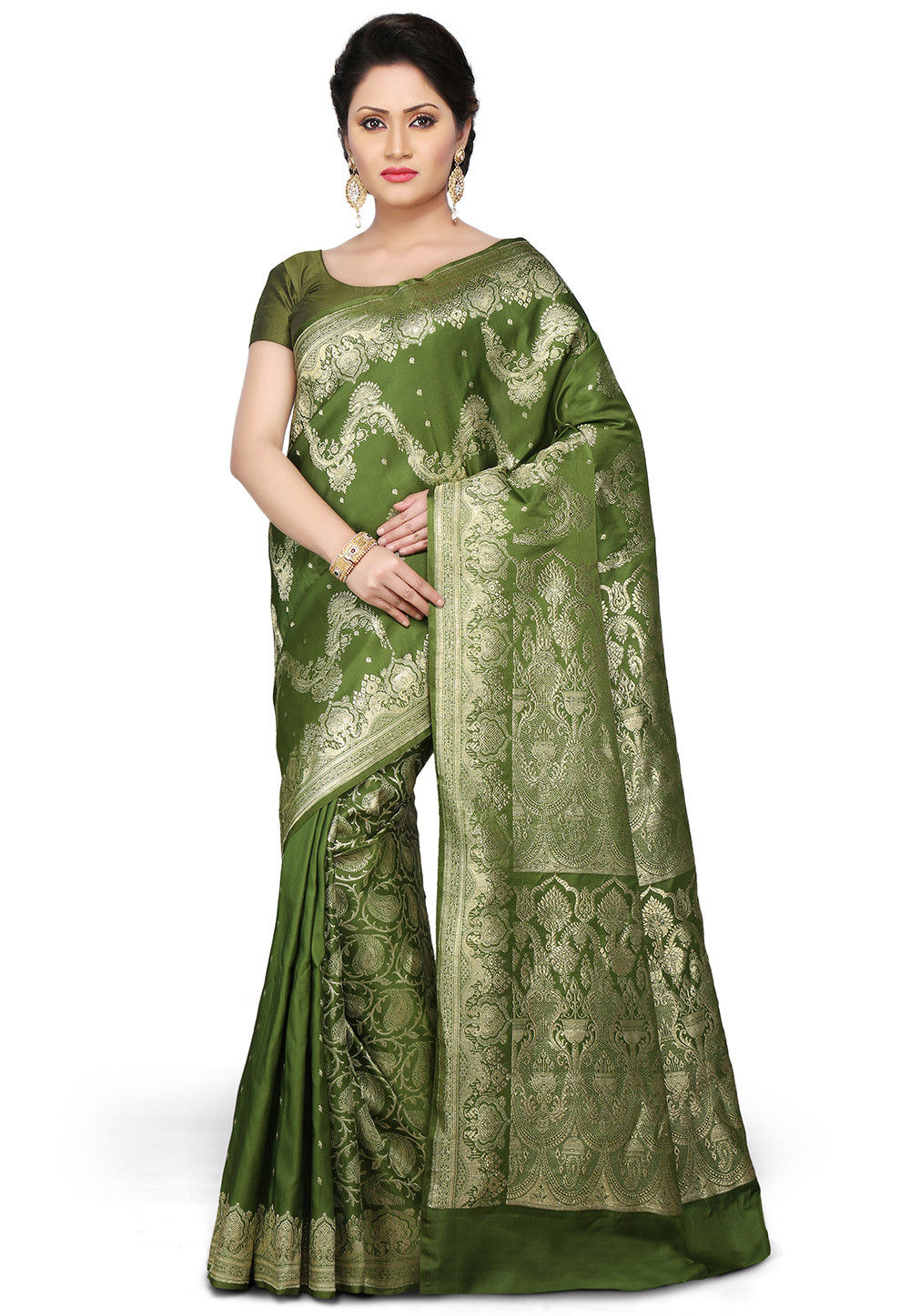 Banarasi Pure Silk Handloom Saree in Olive Green