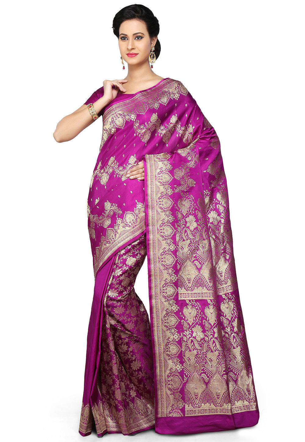 Banarasi Pure Silk Handloom Saree in Magenta