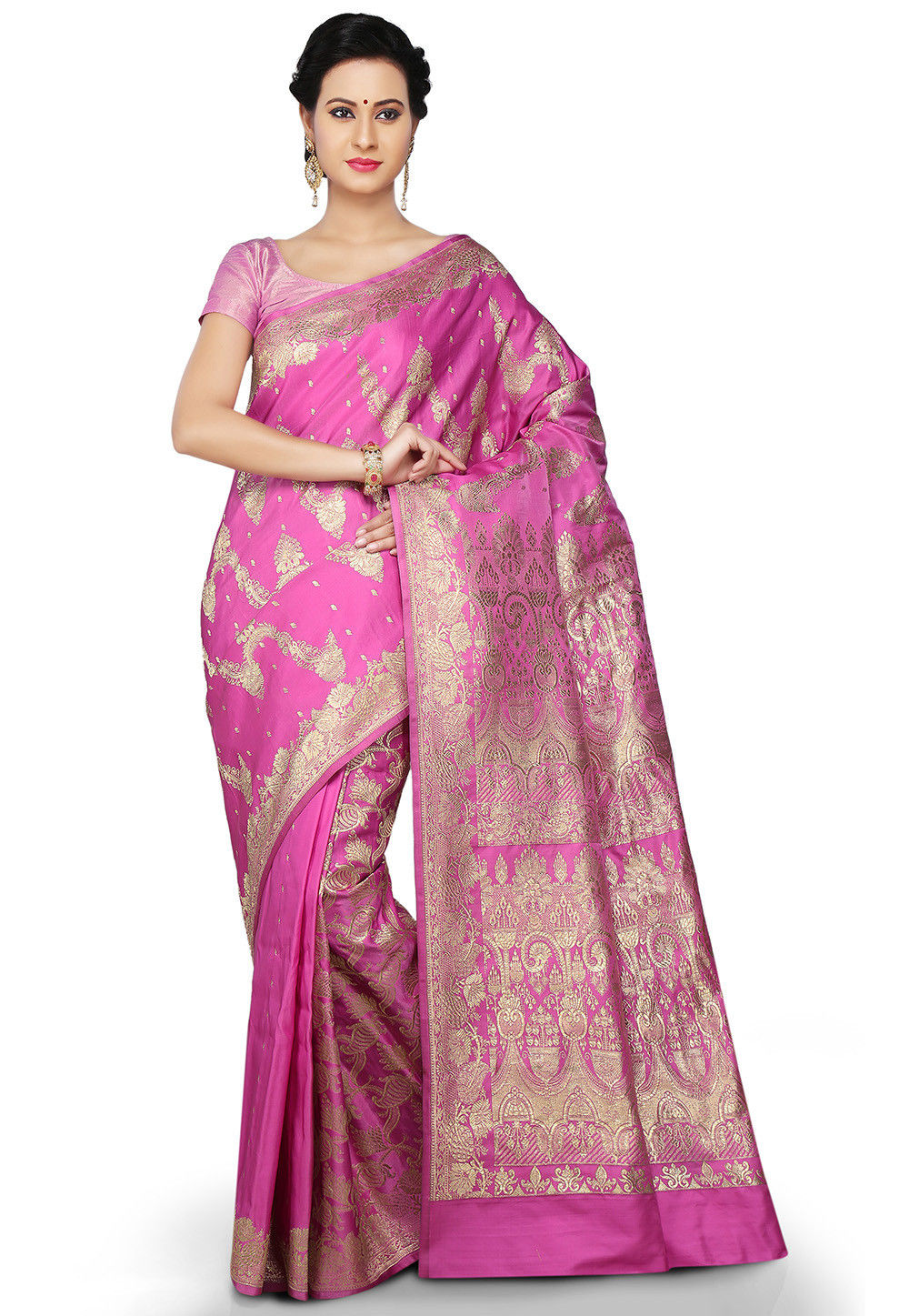 Banarasi Pure Silk Handloom Saree in Pink