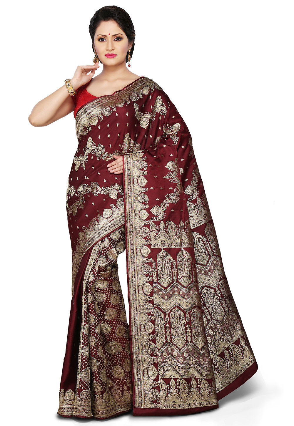 Banarasi Pure Silk Handloom Saree in Maroon