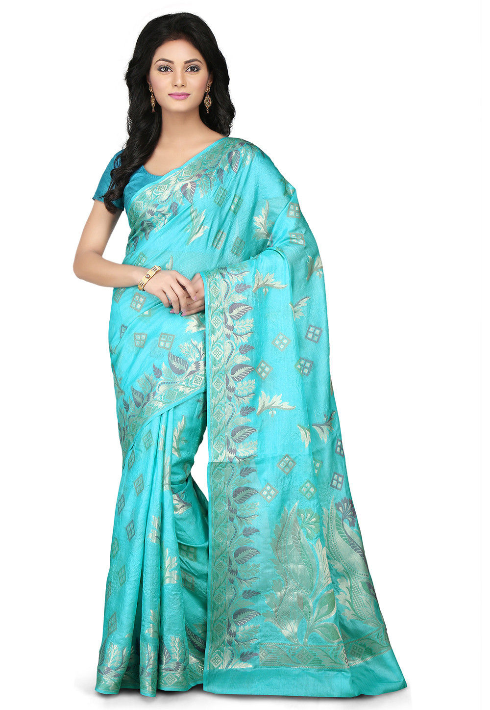 Woven Pure Tussar Silk Saree in Turquoise