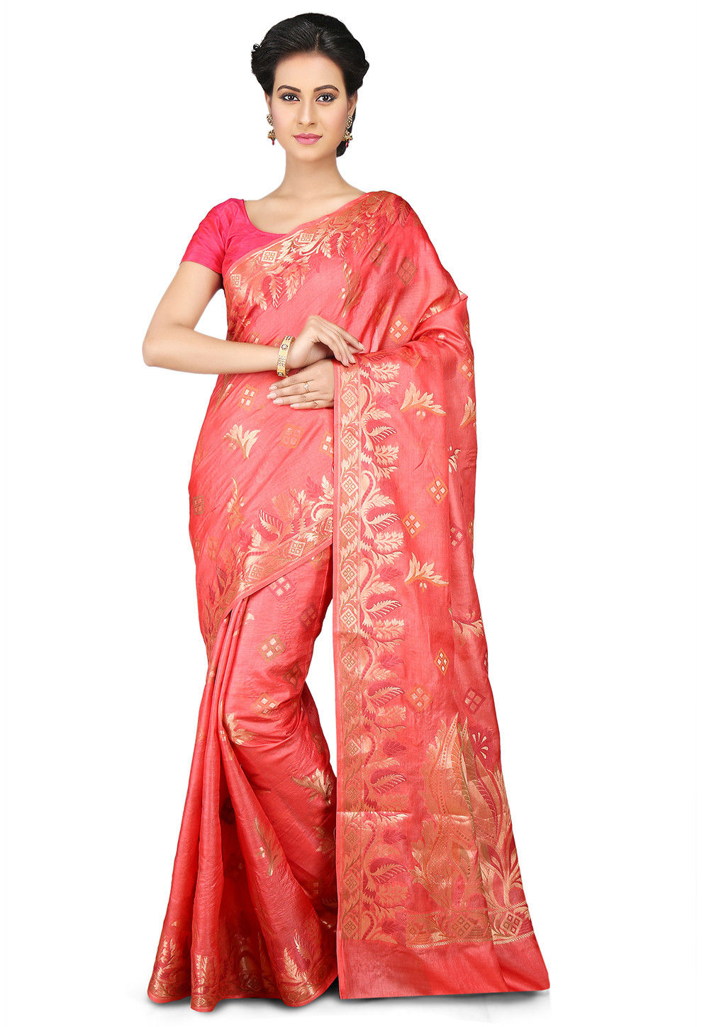 Woven Pure Tussar Silk Saree in Coral