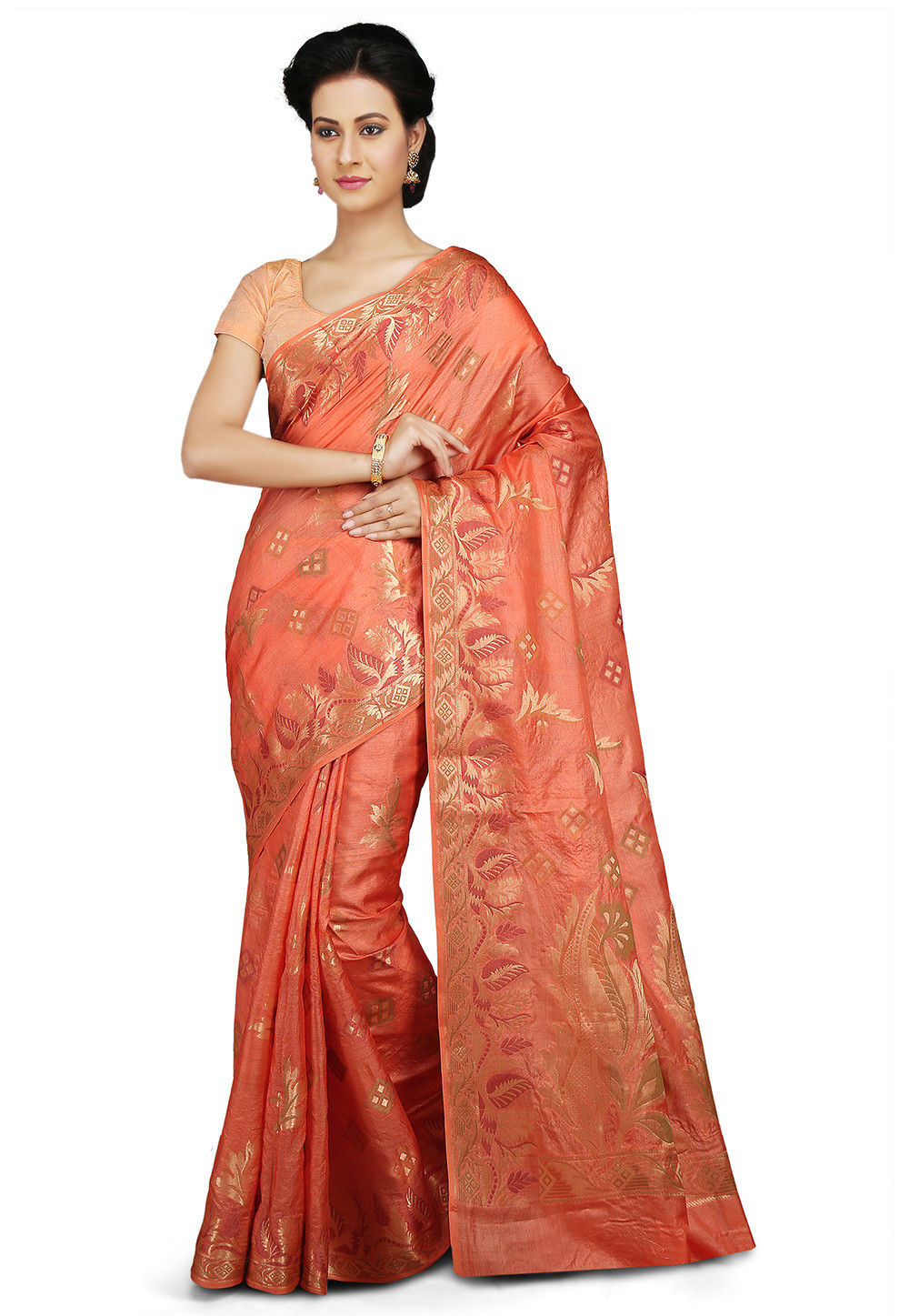Woven Pure Tussar Silk Saree in Peach