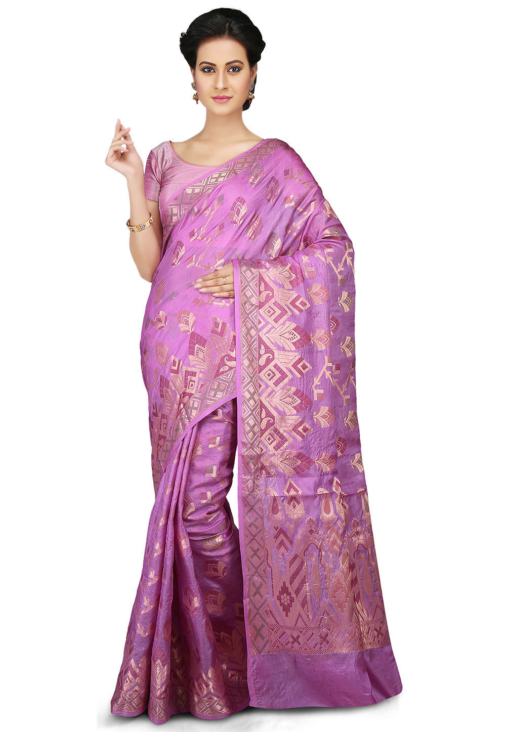 Woven Pure Tussar Silk Saree in Pink
