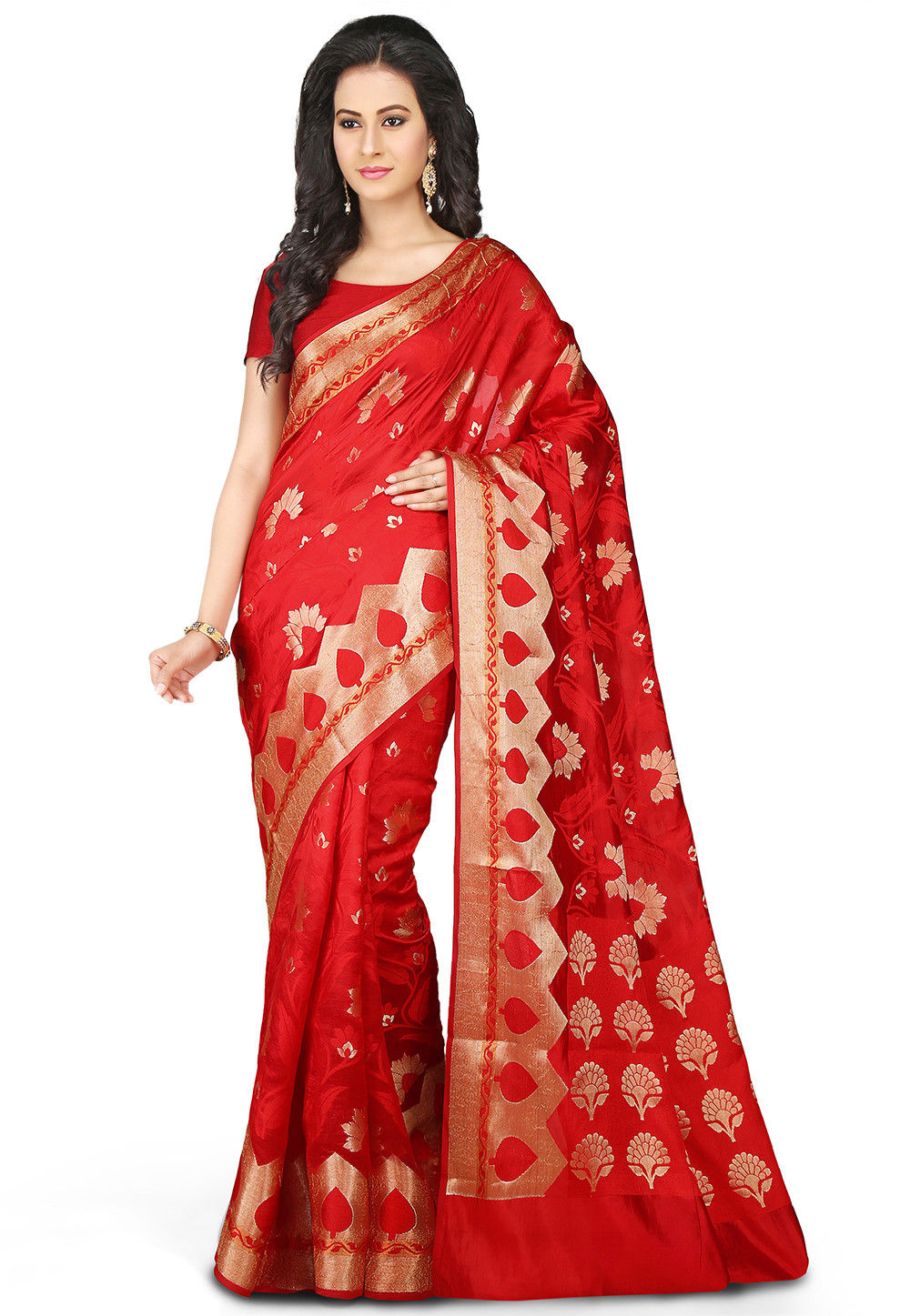 Woven Pure Silk Saree in Red