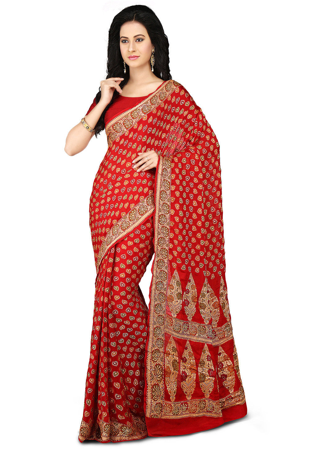 Woven Pure Chiffon Saree in Red