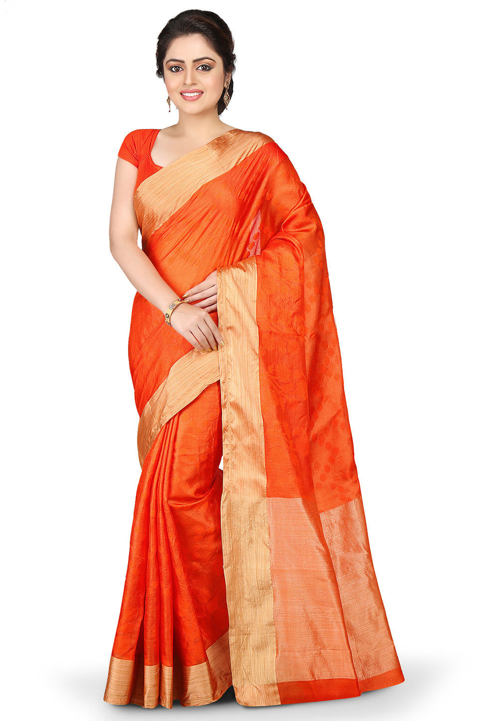 Woven Pure Tussar Silk Saree in Orange