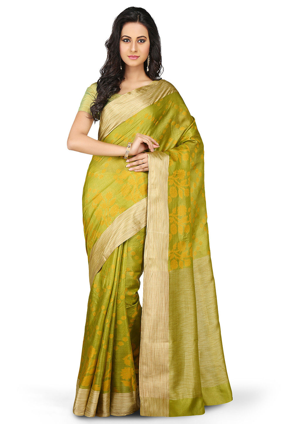 Woven Pure Tussar Silk Saree in Olive Green