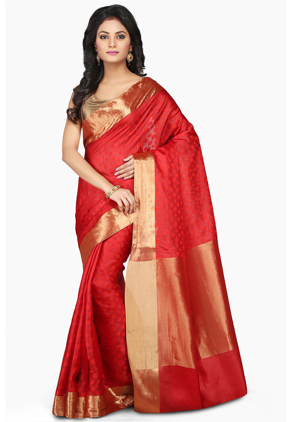 Woven Pure Tussar Silk Saree in Red