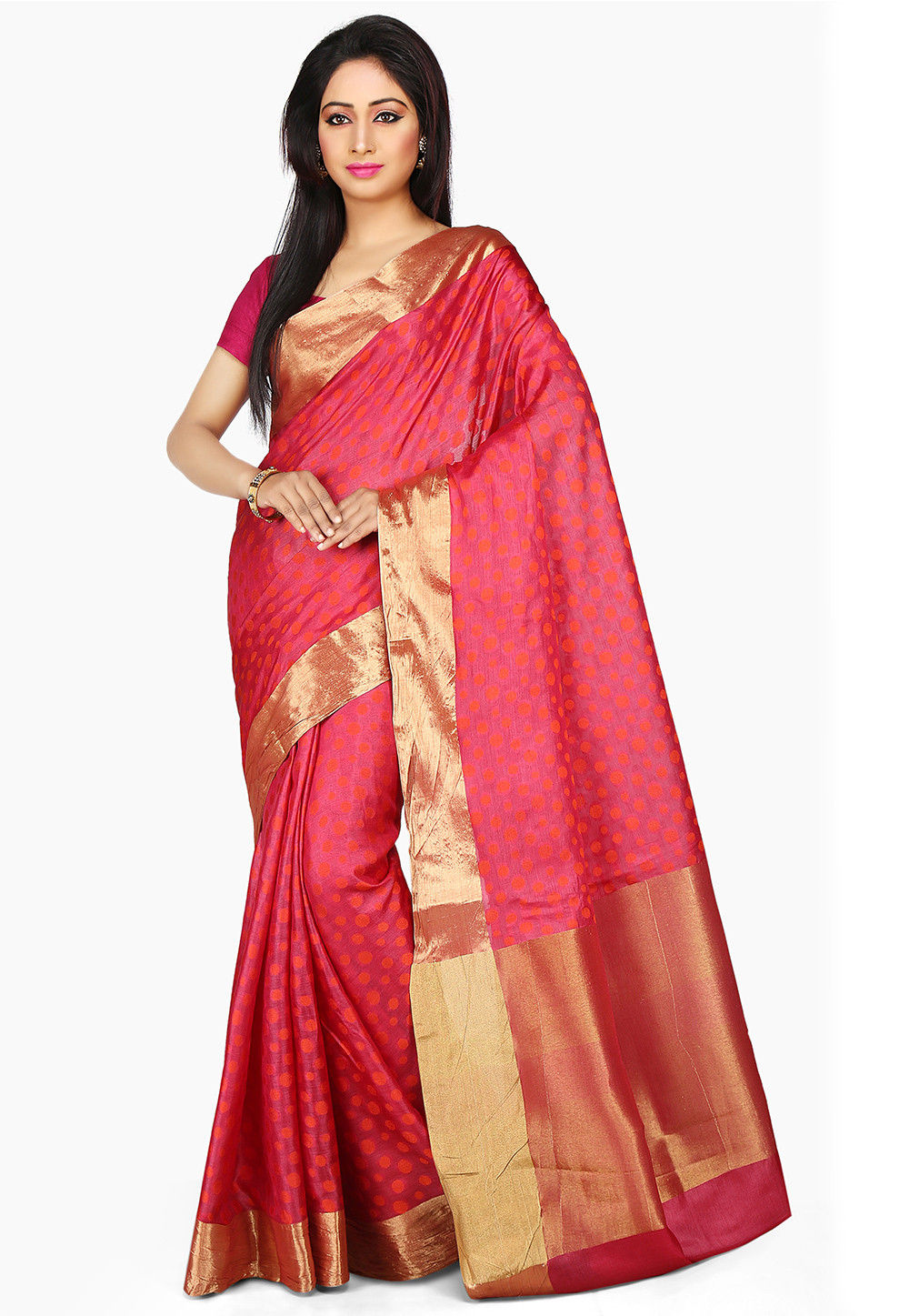 Woven Pure Tussar Silk Saree in Fuchsia