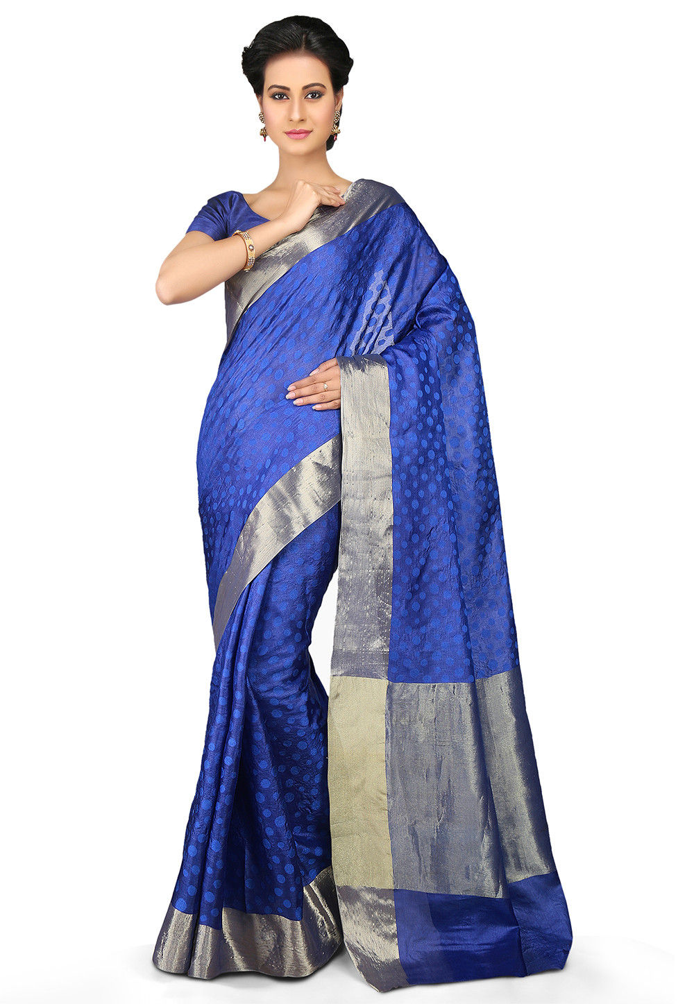 Woven Pure Tussar Silk Saree in Royal Blue