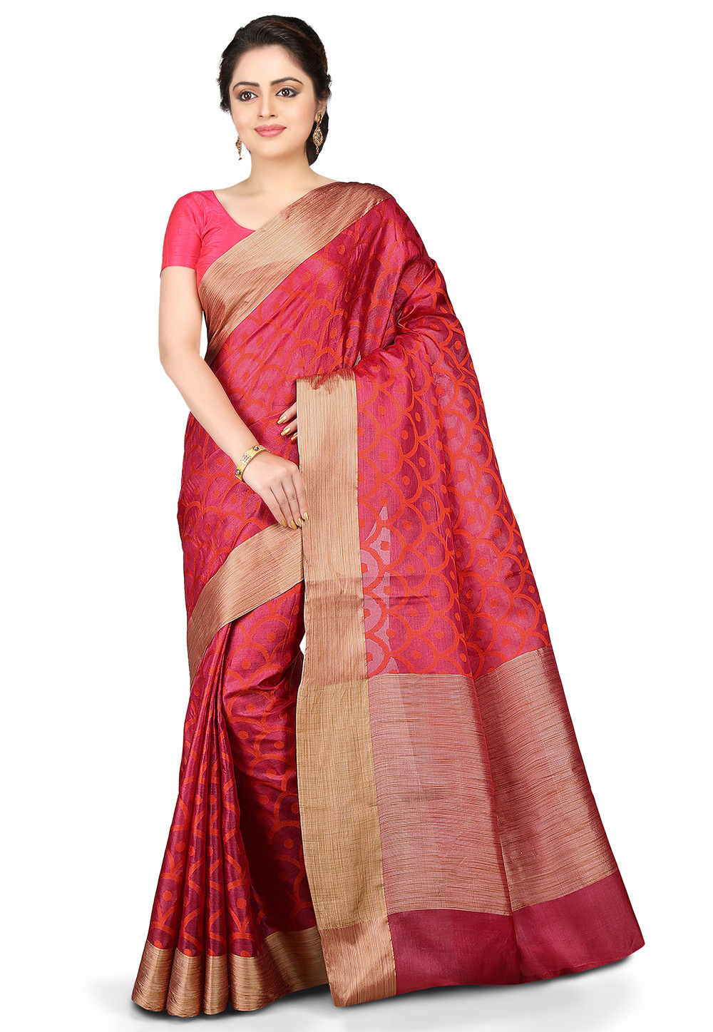 Woven Pure Tussar Silk Saree in Magenta