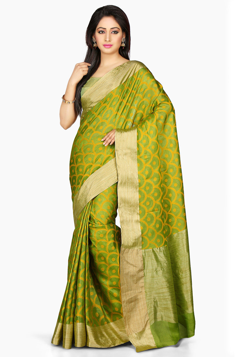 Woven Pure Tussar Silk Saree in Green
