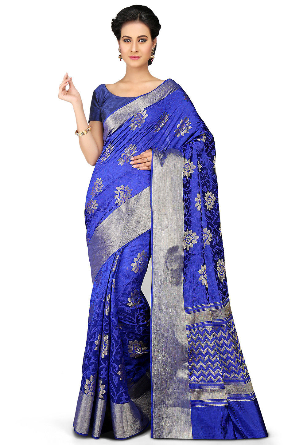 Woven Pure Silk Saree in Royal Blue