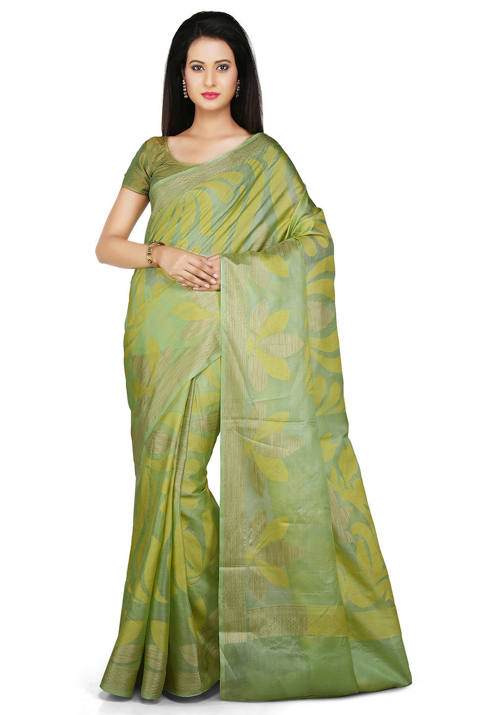 Pure Tussar Silk Saree in Light Green