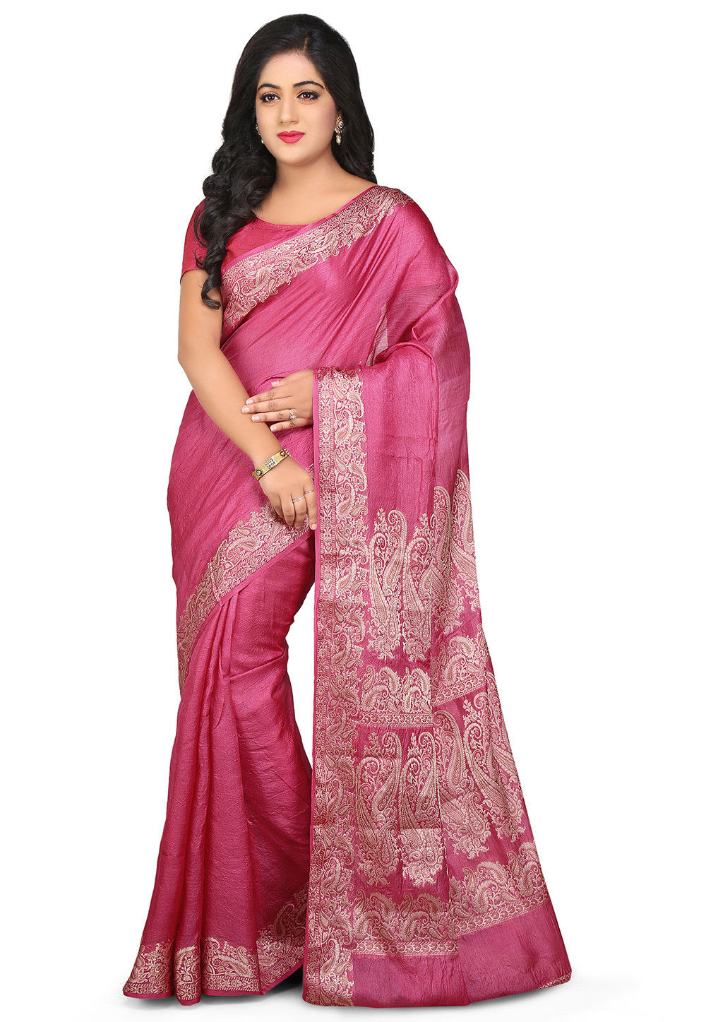 Pure Tussar Silk Saree in Pink