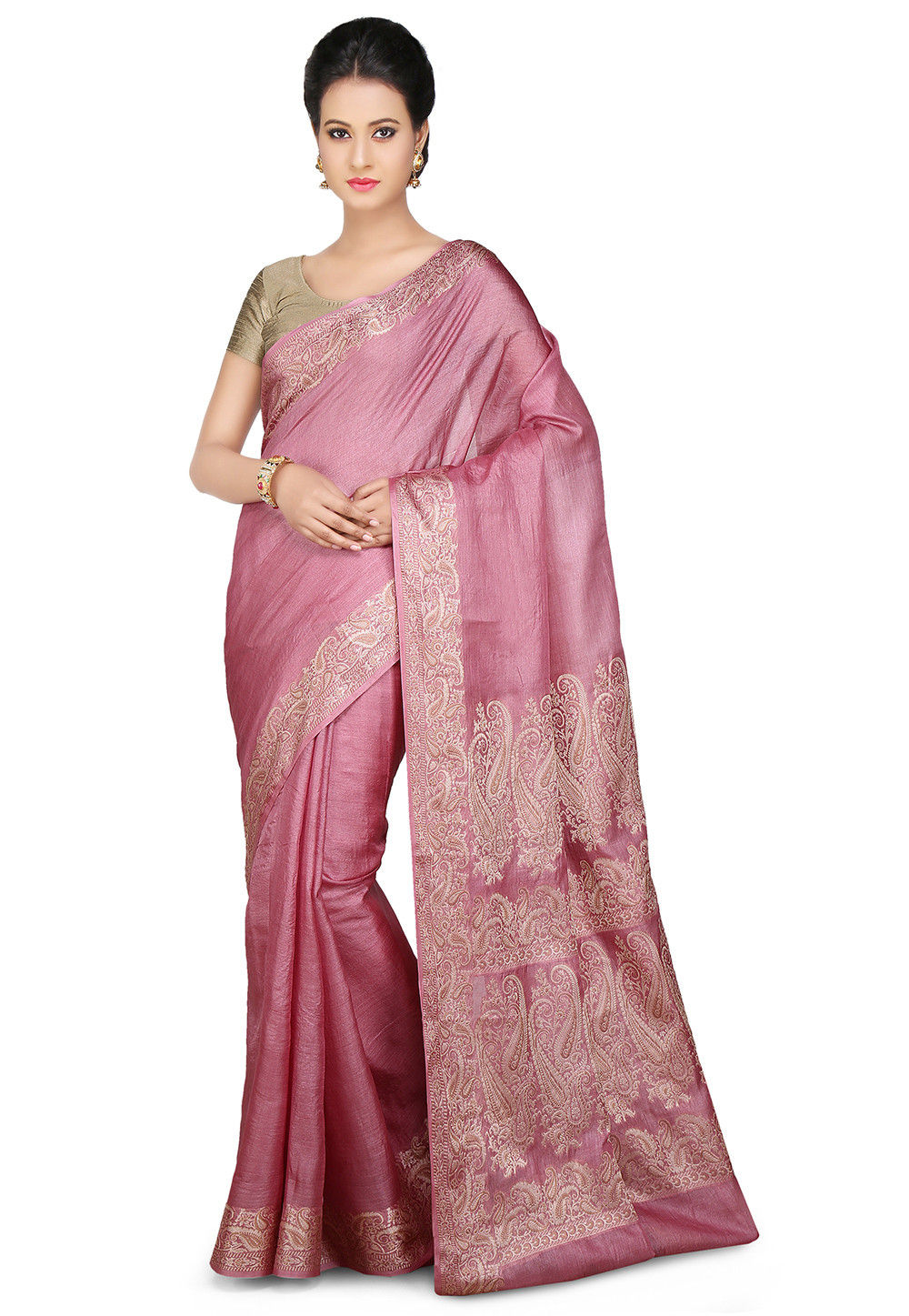 Pure Tussar Silk Saree in Lilac