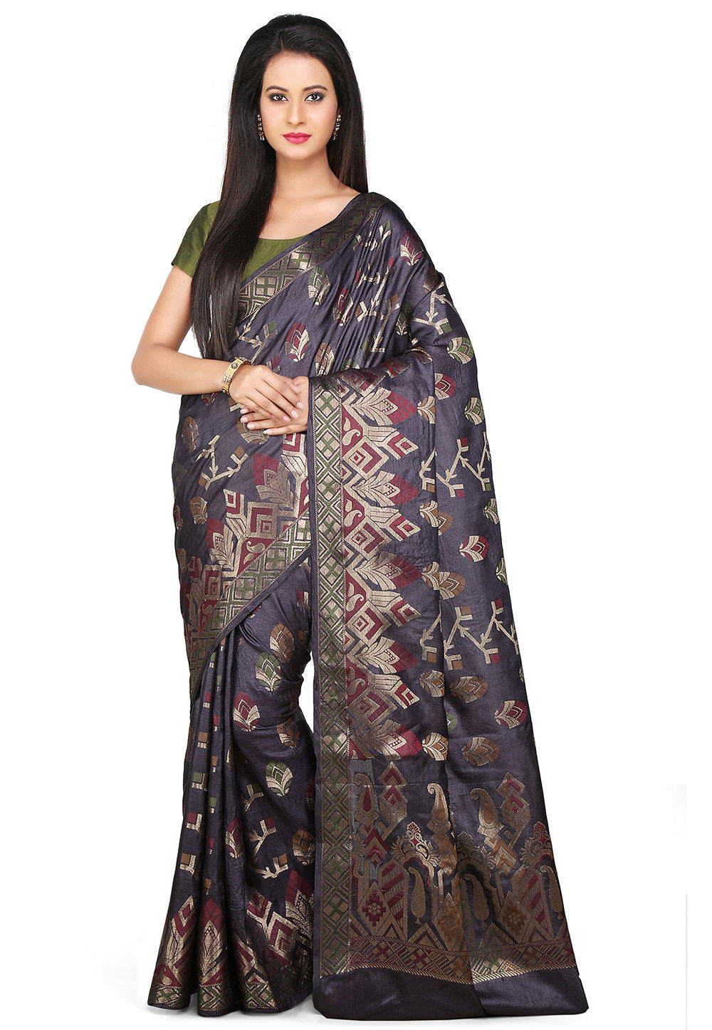 Woven Pure Tussar Silk Saree in Black
