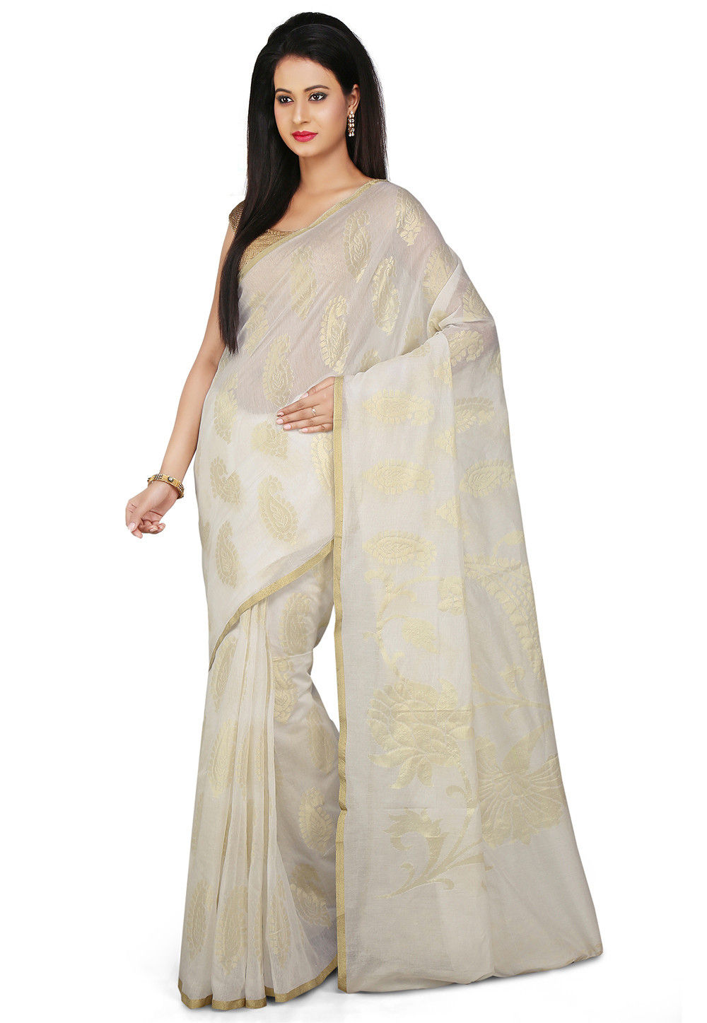 Woven Pure Chanderi Cotton Silk Saree in Off White