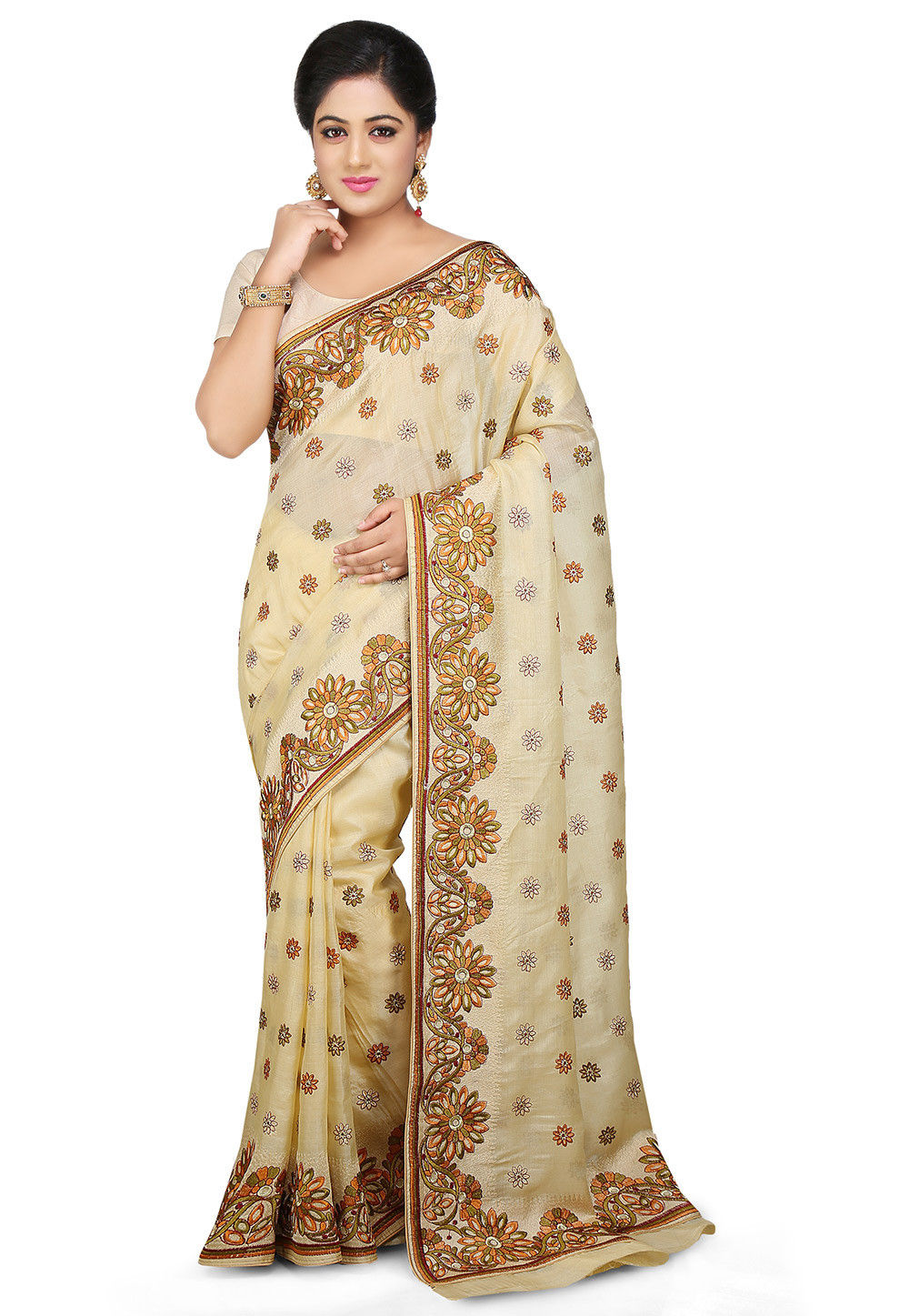 Embroidered Pure Tussar Silk Saree in Cream
