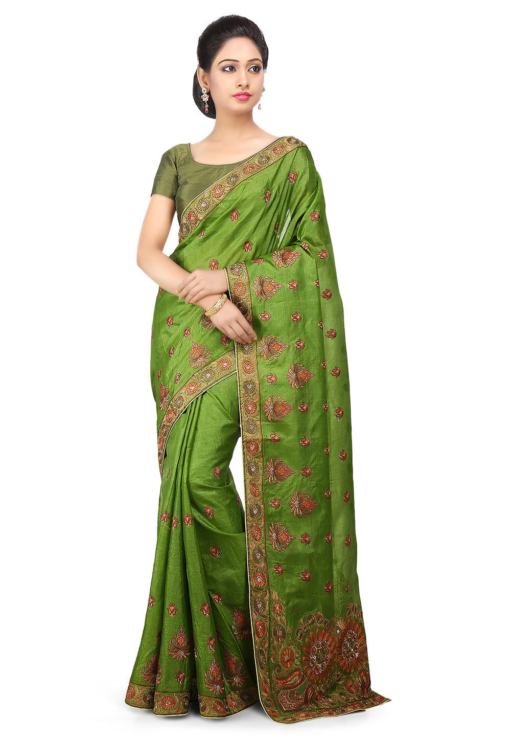 Embroidered Pure Tussar Silk Saree in Green