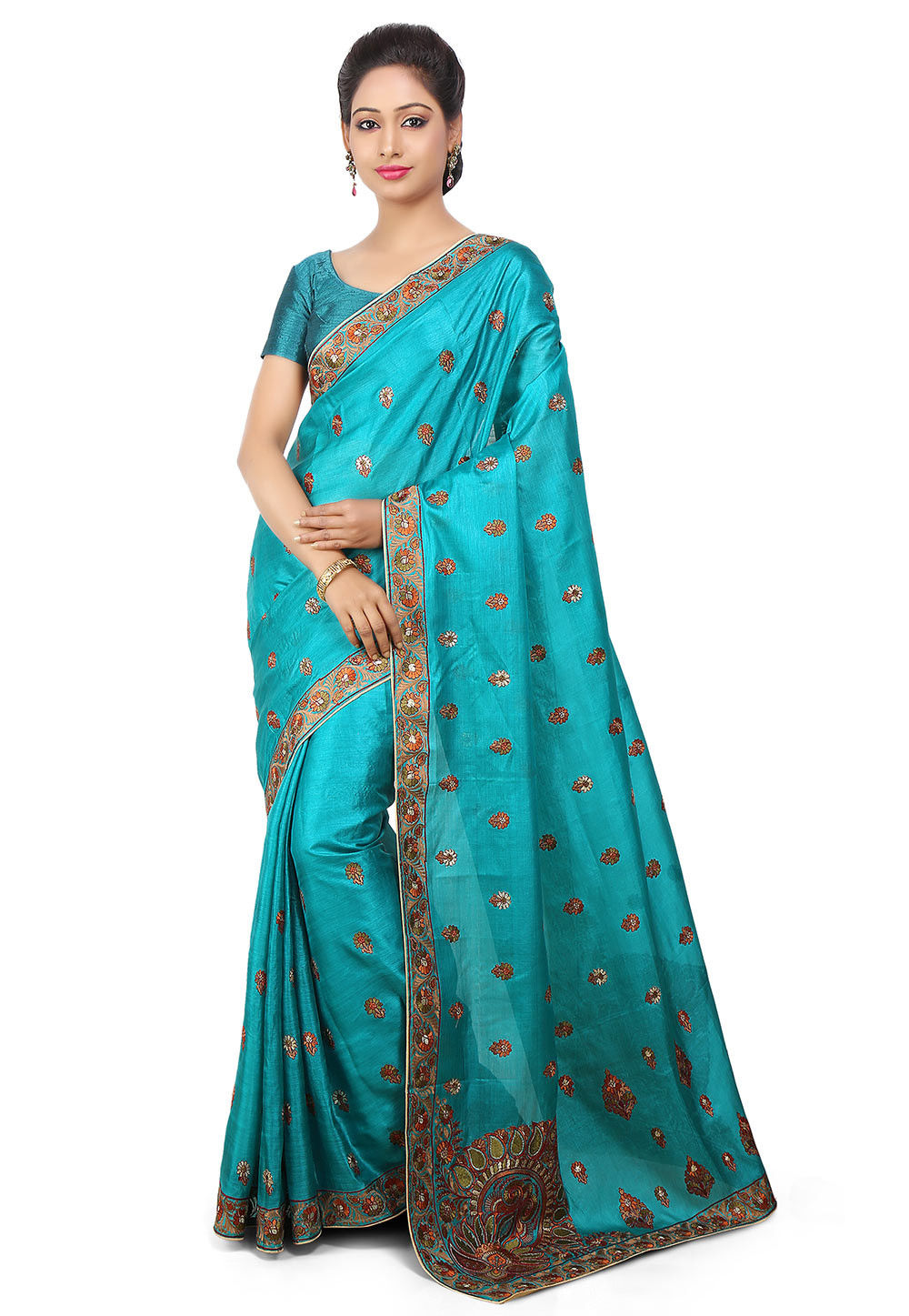 Embroidered Pure Tussar Silk Saree in Teal Blue