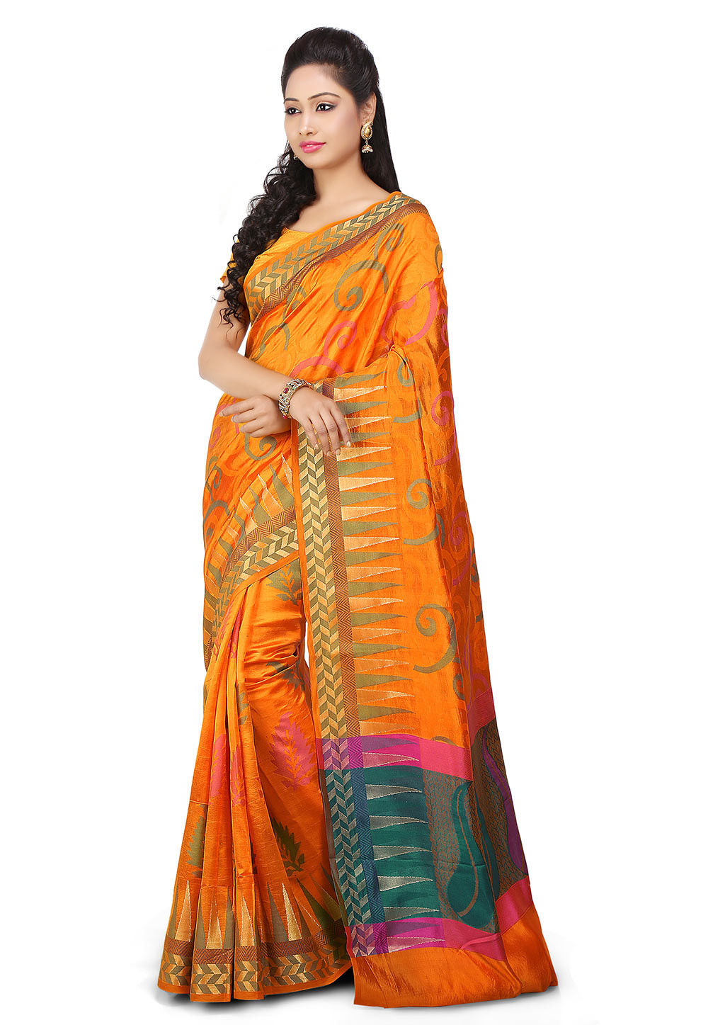 Woven Pure Silk jacquard Saree in Orange