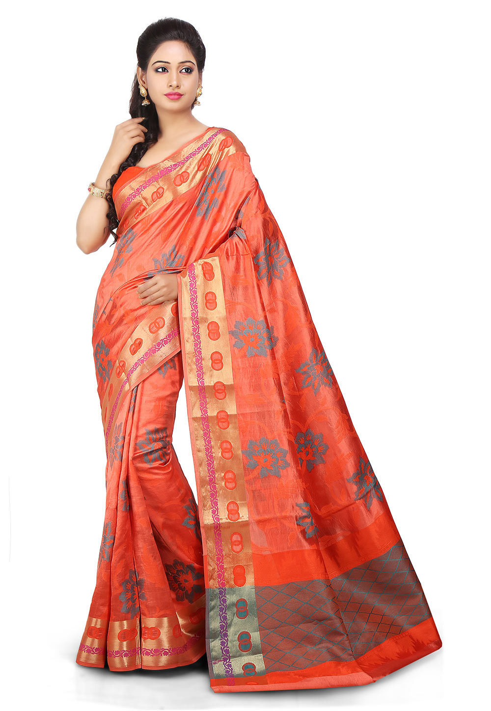 Woven Pure Jacquard Silk Saree in Rust