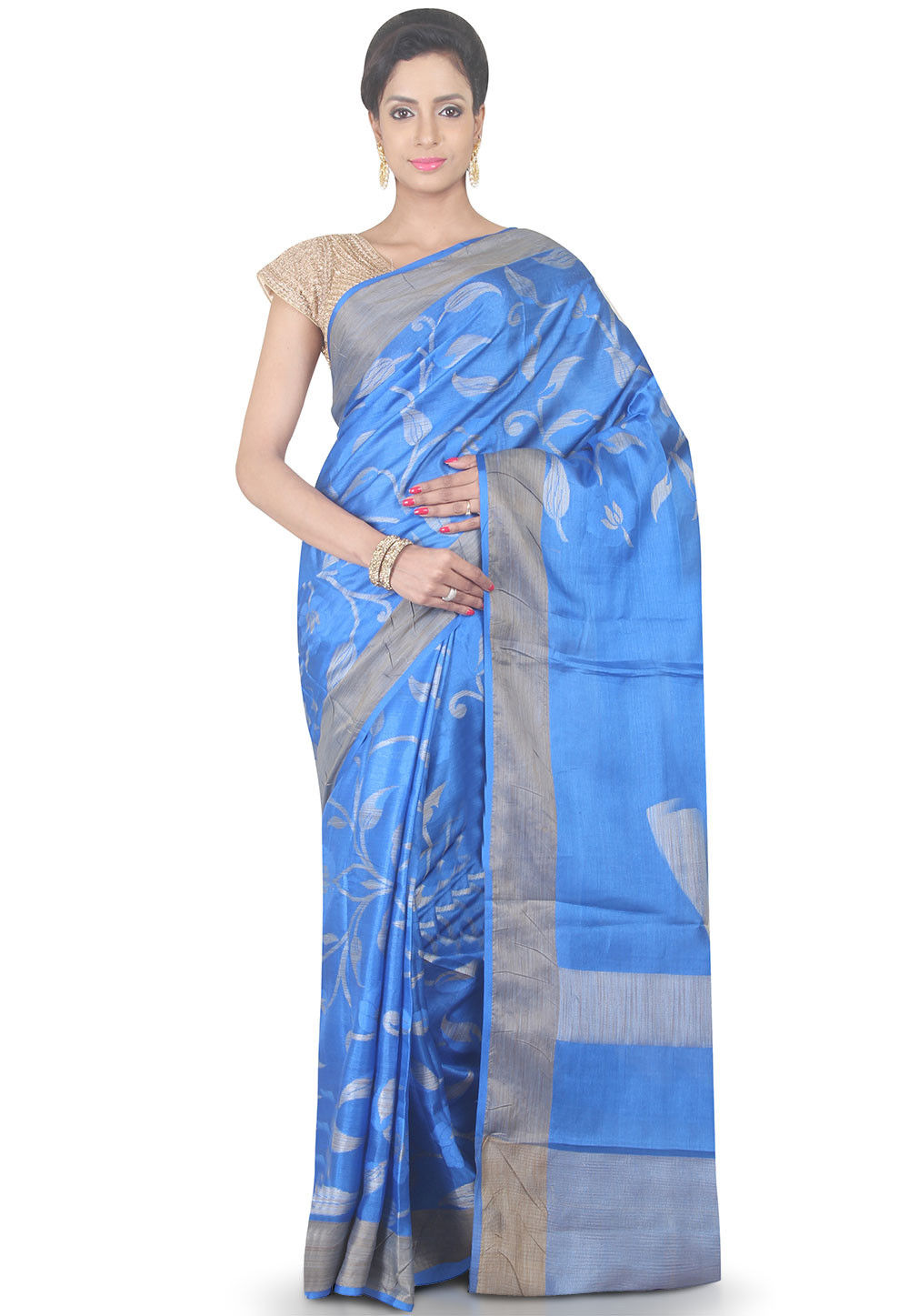 Woven Pure Silk Saree in Blue