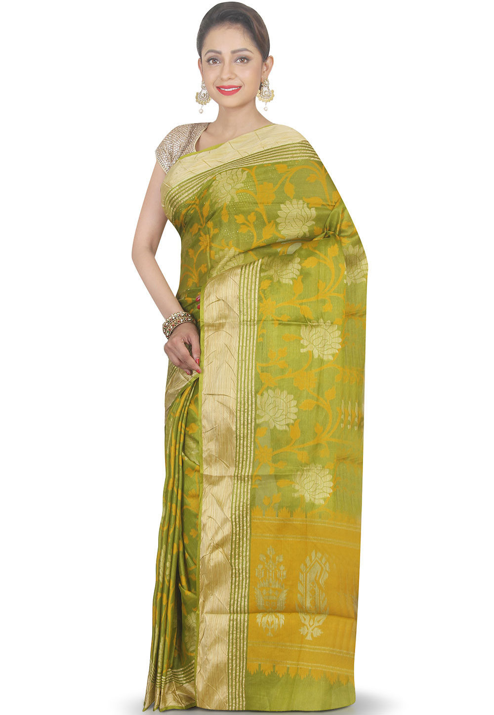 Woven Pure Silk Saree in Olive Green