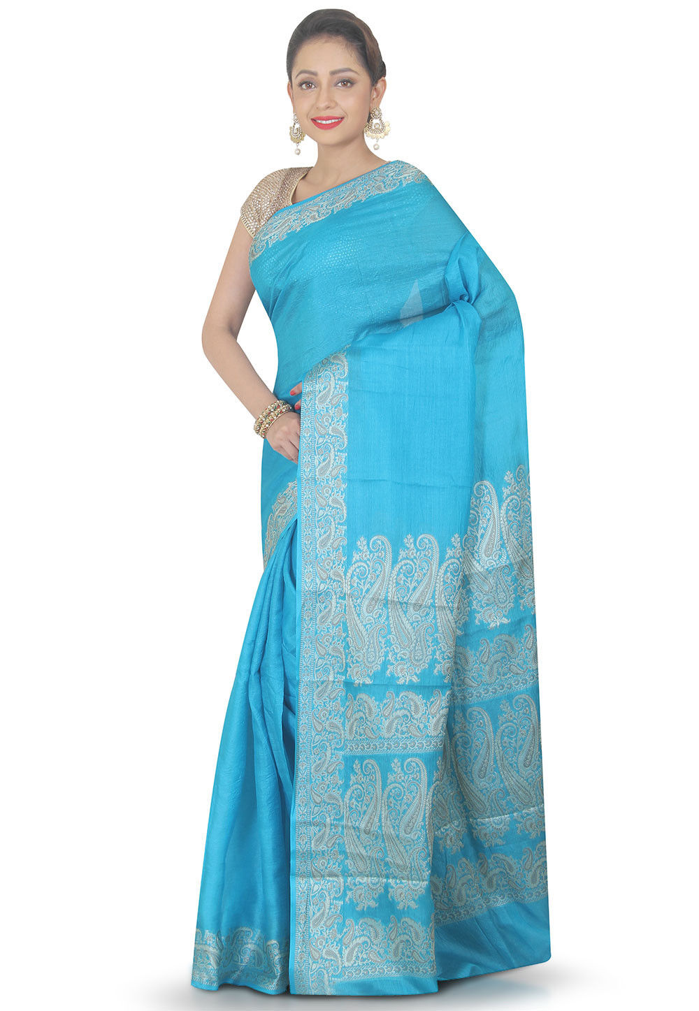 Woven Pure Silk Saree in Sky Blue