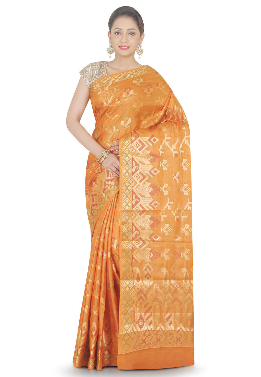 Woven Pure Silk Saree in Mustard