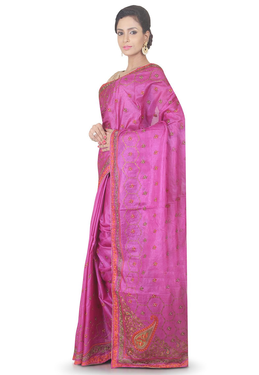 Embroidered Pure Silk Saree in Fuchsia