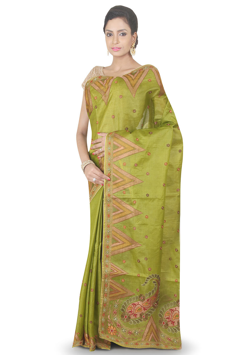 Embroidered Pure Silk Saree in Olive Green