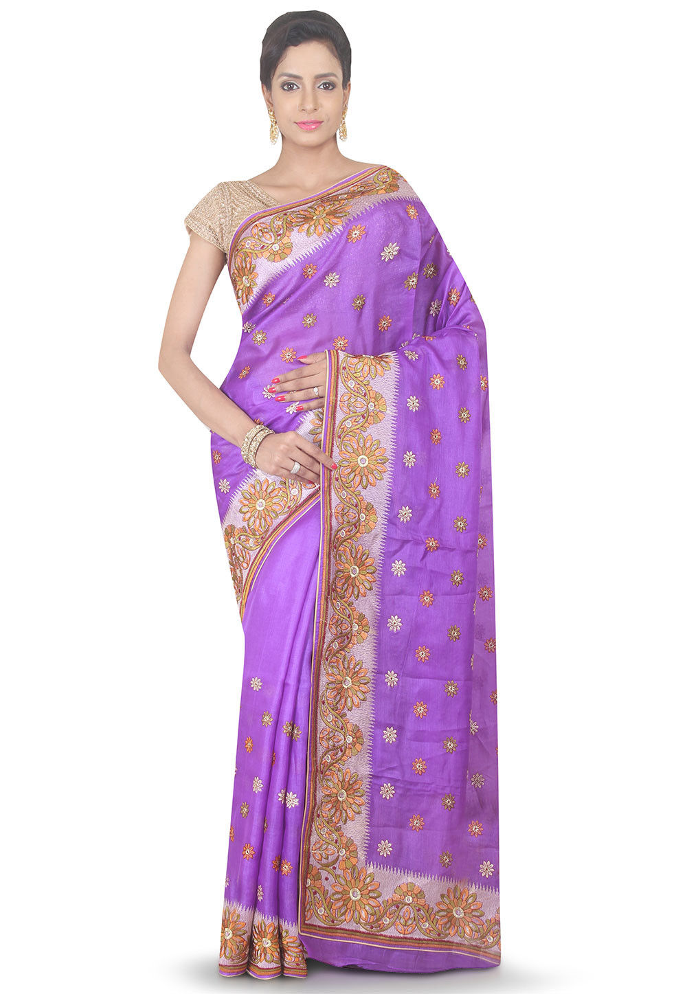 Embroidered Pure Silk Saree in Purple