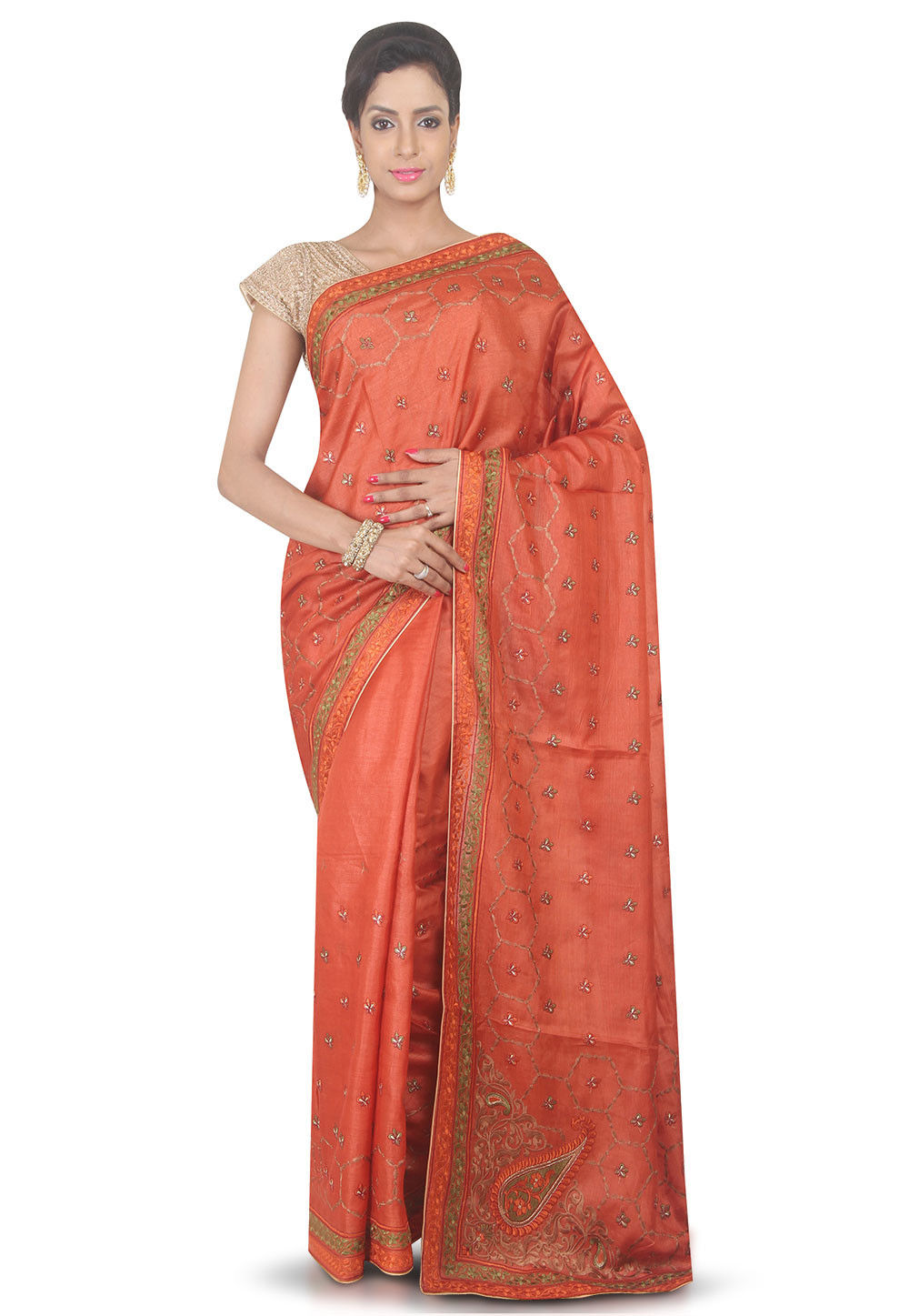 Embroidered Pure Silk Saree in Rust