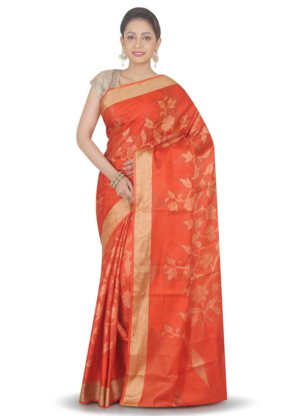 Woven Pure Silk Saree in Orange