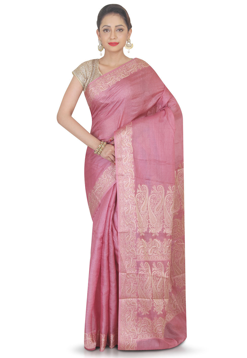 Woven Pure Silk Saree in Old Rose